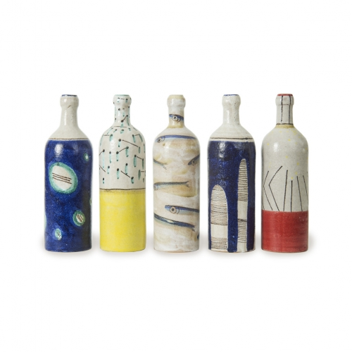 "Decorated terracotta bottles ""Vietri sul Mare"" artistic ceramics"